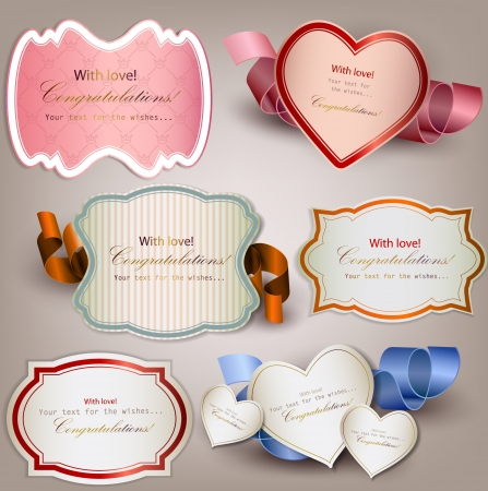 antique paper background: Set of  holiday banners and labels with ribbons. Vector background