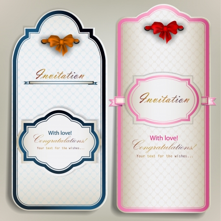annotation: Card notes with ribbons  Vintage invitations