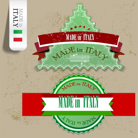 Set of Badges, Labels, Tags Made in Italy. Grunge stamp with text Vector