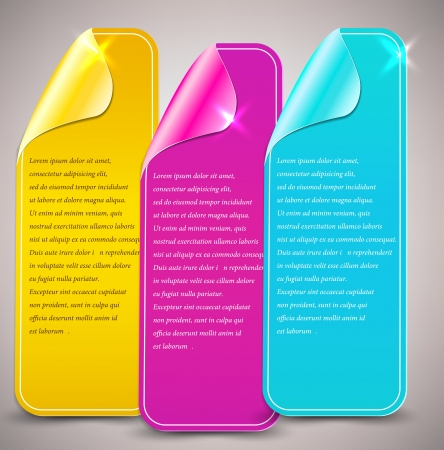 sheet menu: Set of  colorful glossy banners