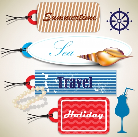 starfish on beach: Set of  Badges, Labels, Tags with shells and place for text. Retro vintage style.