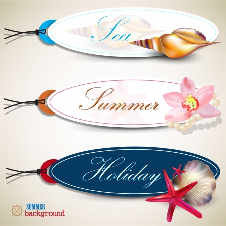 Set of  Holiday Badges, Labels, Tags with shells and place for text. Retro vintage style. Vector