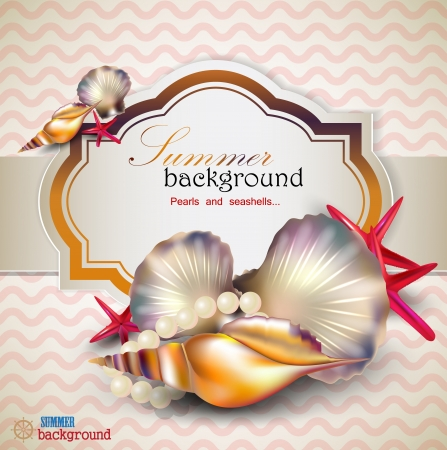 Holiday banner with shells and starfishes and place for text. Retro vintage style. Stock Vector - 14062072