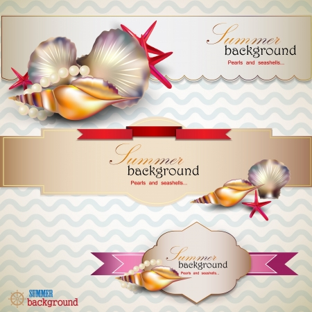 Set of Holiday banners with shells and place for text. Retro vintage style. Vector
