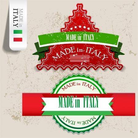 bandiera italiana: Set di segni, etichette, cartellini Made in Italia timbro grunge illustrazione vettoriale con testo Vettoriali