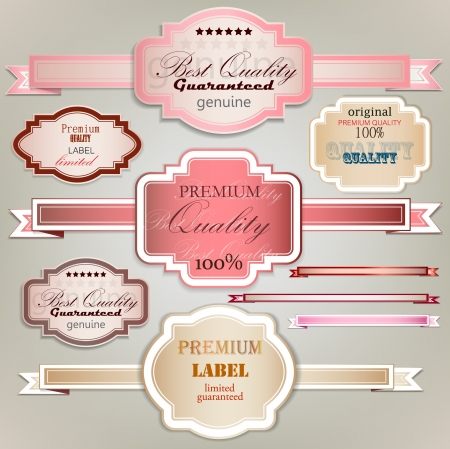 golden ribbon: Set of holiday ribbons and labels  Vector background
