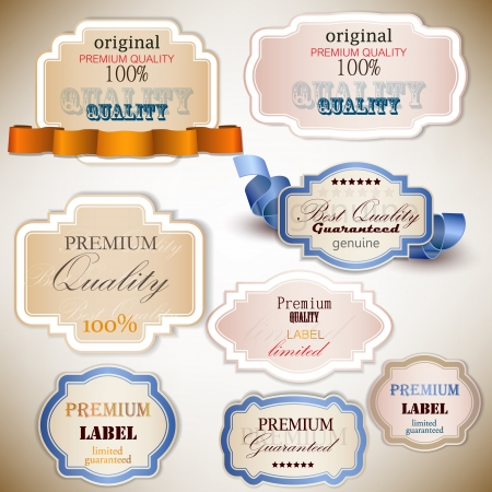 satisfaction guarantee: Set of Superior Quality and Satisfaction Guarantee Badges, Labels, Tags  Retro vintage style