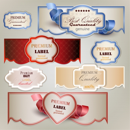 marriage certificate: Set of holiday banners and labels with ribbons  Vector background