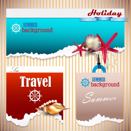 Set of Holiday banners with shells and place for text. Torn paper Vector