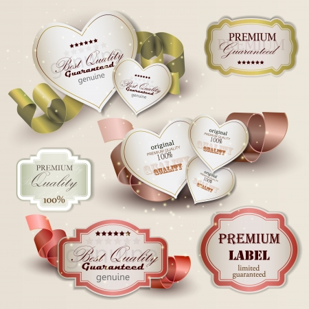 discount banner: Set of Superior Quality and Satisfaction Guarantee Badges, Labels, Tags. Retro vintage style Illustration