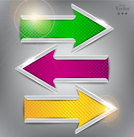 Set of colorful vector arrows. Website elements. Vector
