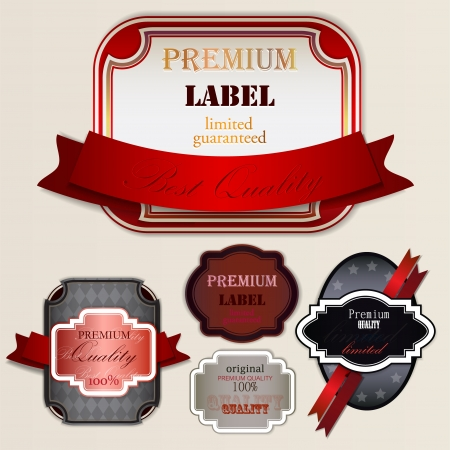Set of Super Quality and Satisfaction Guarantee Badges, Labels, Tags  Retro vintage style Stock Vector - 14406203