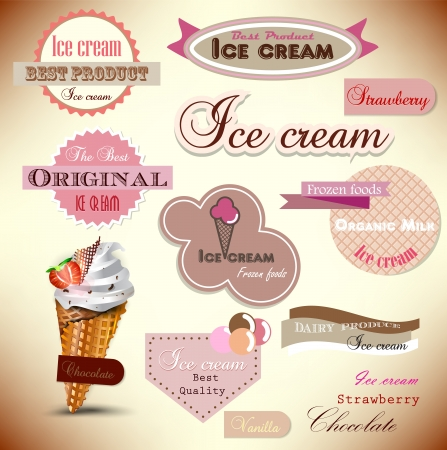 waffle ice cream: Set of vintage ice cream shop badges and labels  Best quality Illustration
