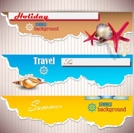 papel scrapbook: Conjunto de banners de vacaciones con conchas y lugar para el texto de papel rasgado Vectores