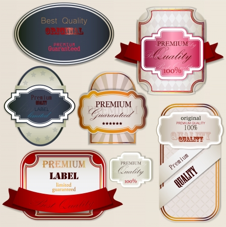 superior: Set of Superior Quality and Satisfaction Guarantee Badges, Labels, Tags  Retro vintage style