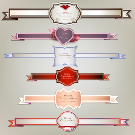 Set of holiday ribbons and labels. Vector background Vector