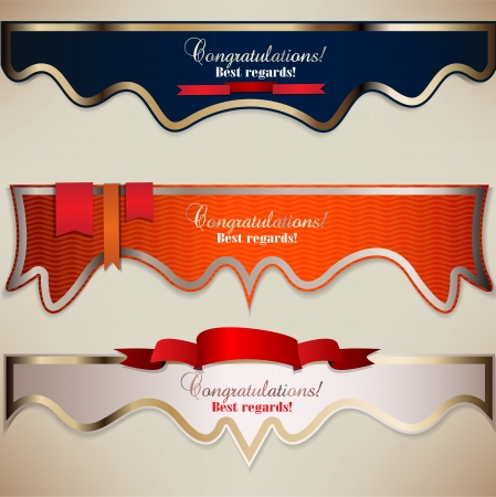 glitter hearts: Set of holiday banners with ribbons. Vector background