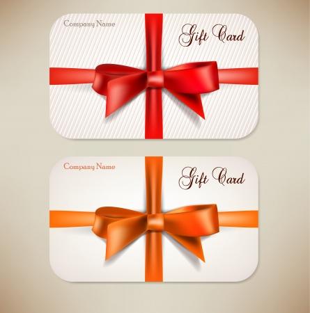 Collection de cartes-cadeaux avec des rubans. Vecteur de fond