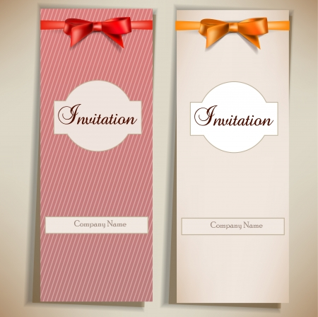 Retro card notes with ribbons. Red and beige invitations Vetores