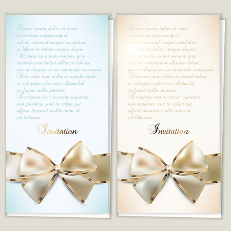 Card notes with ribbons   Beige and Blue invitations Vector