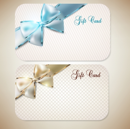 annotation: Collection of gift cards with ribbons  Vector background Illustration