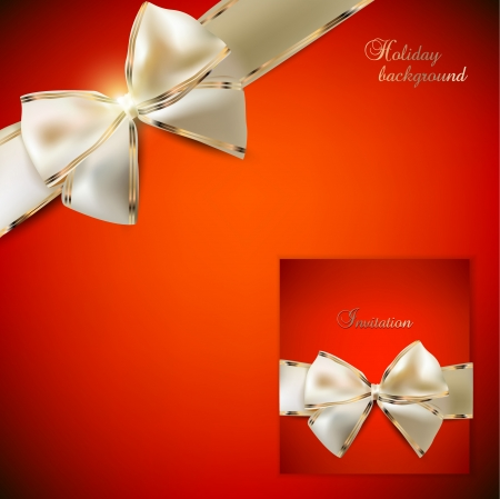 happy new year banner: Elegant red background and Gift Card with ribbons  In a same style