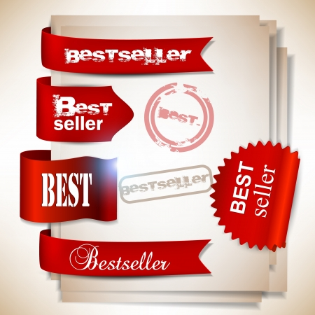 Bestseller  Red banners and labels  Vector
