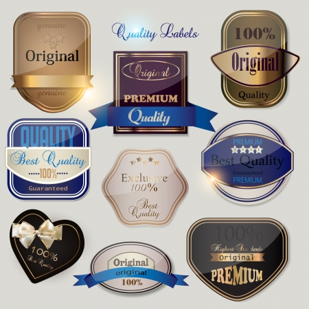 Set of Superior Quality and Satisfaction Guarantee Badges, Labels, Tags  Retro vintage style Vector