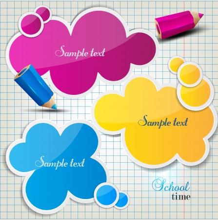 Burbujas de colores para el habla en la hoja de cuadros
