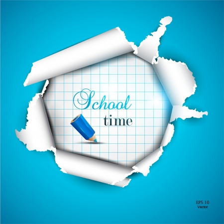 Torn paper with space for text  School time Vector