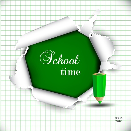 school time: Torn paper with space for text  School time Illustration