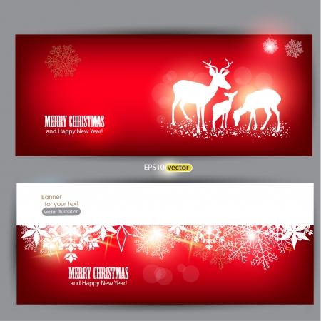 navidad elegante: Elegante banners de Navidad con ciervos ilustraci�n vectorial con lugar para el texto