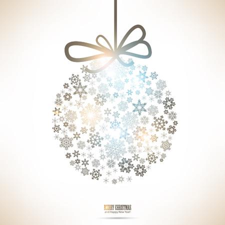 Christmas ball made from snowflakes  Christmas background Illusztráció