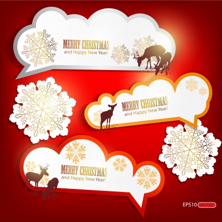 Set of winter bubbles, stickers, labels, tags  Vector  illustration Vector