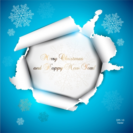 hole in paper: Elegant Christmas background with snowflakes and place for text  Torn paper Illustration