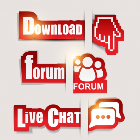 Paper website elements   Download ,  Forum ,  Live Chat  Illustration