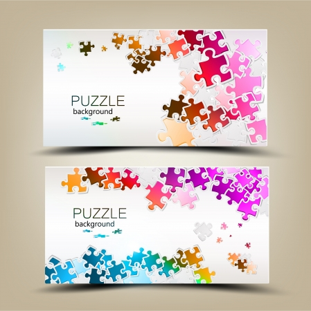 art piece:  Business cards with mosaic made from puzzle pieces