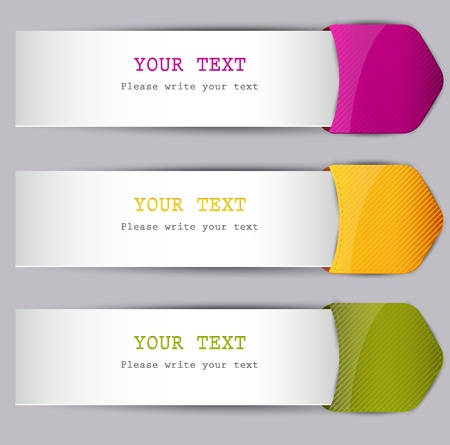 sheet menu: Colorful bookmarks with place for text Illustration