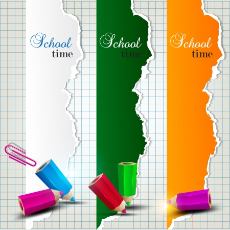 Torn paper banners with space for text. School time Vector