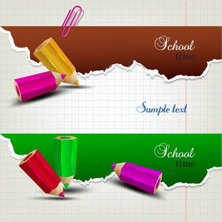 bent: Torn paper banners with space for text. School time Illustration