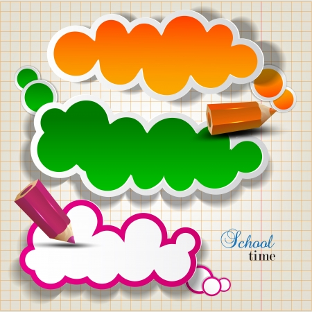 Colorful bubbles for speech on chequered sheet Vector