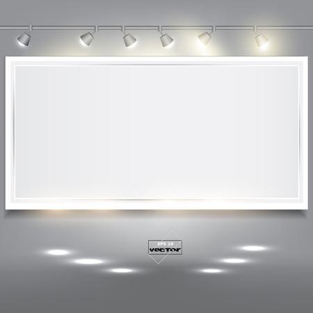 отображения: Пустой белый баннер для рекламного продукта с освещением Иллюстрация