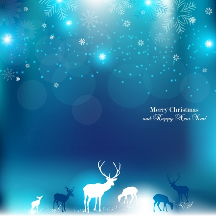 place for text: Beautiful Christmas background with reindeer and place for text. Illustration