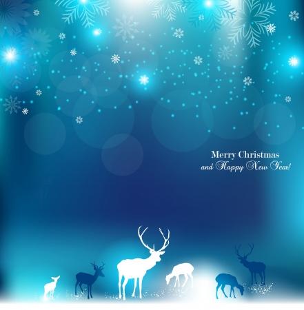 renos de navidad: Hermoso fondo de Navidad con renos y el lugar de texto. Vectores
