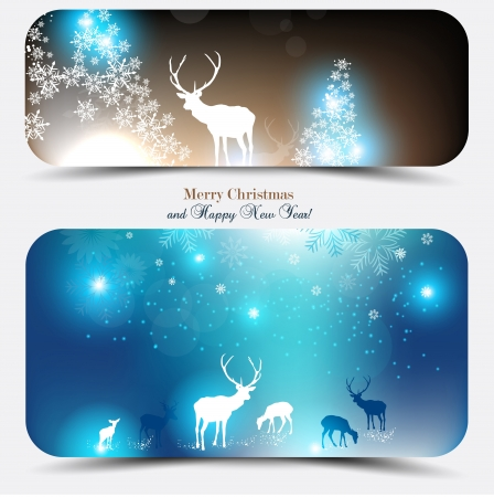 christmas cover: Elegant Christmas banners with deers. Vector Illustration with place for text.