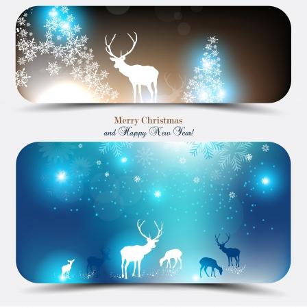 navidad elegante: Elegantes banners de Navidad con ciervos. Ilustraci�n vectorial con el lugar para el texto.
