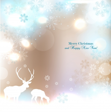 Beautiful Christmas background with reindeer and place for text. Illusztráció