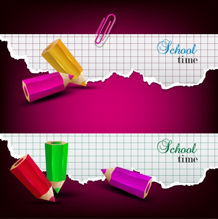 school time: Torn paper banners with space for text. School time Illustration