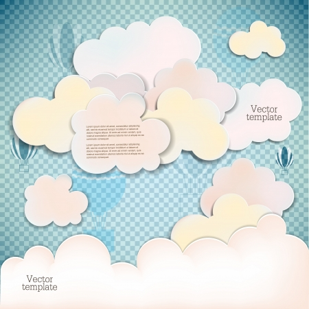 White banners and bubbles for speech Vector