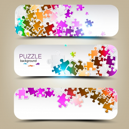 blank business card: Set of three banners with mosaic made from puzzle pieces Illustration